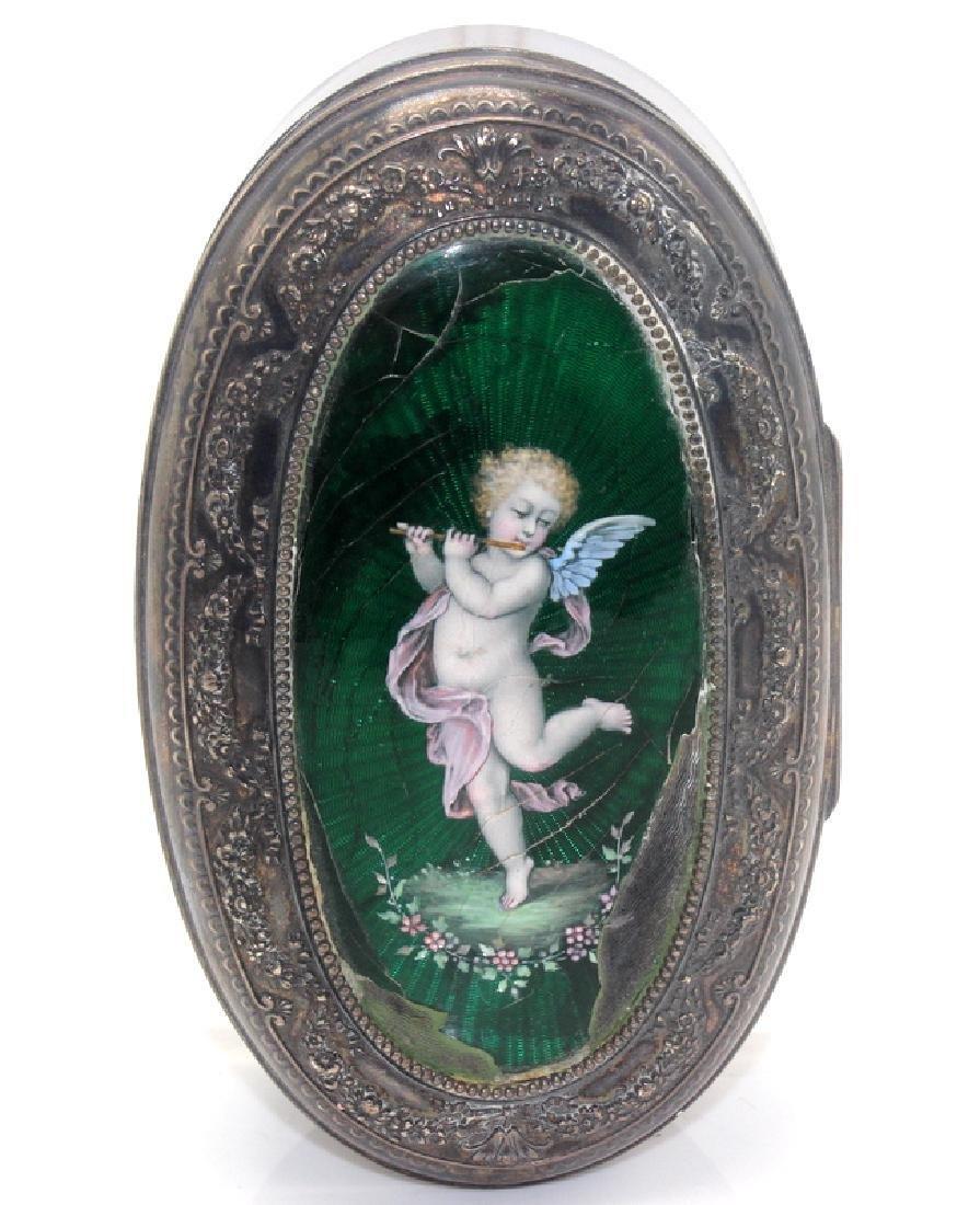 Sterling Silver & Enamel Decorated Trinket Box