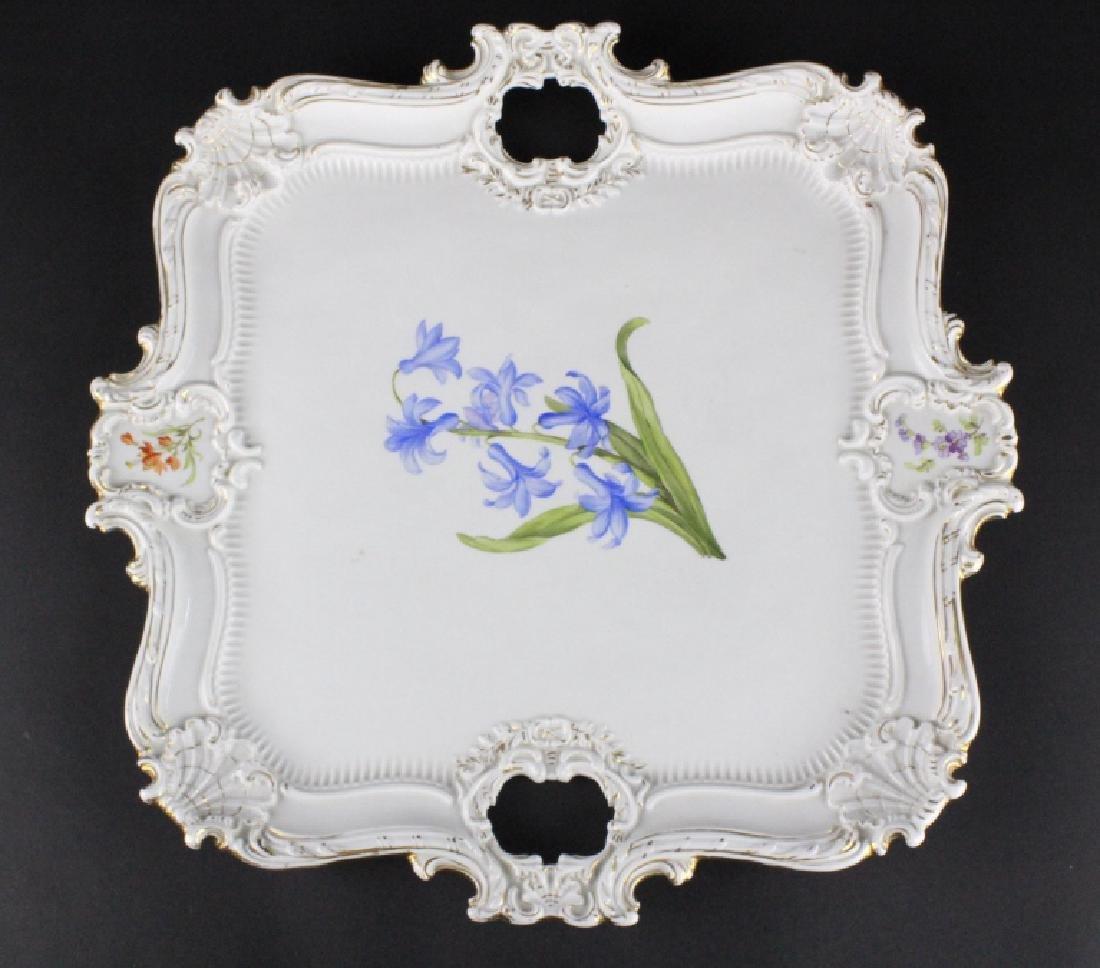 19th C..Meissen German Floral Porcelain Serving Tray