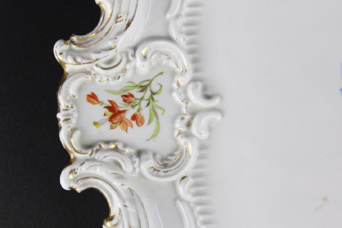 19th C..Meissen German Floral Porcelain Serving Tray - 3