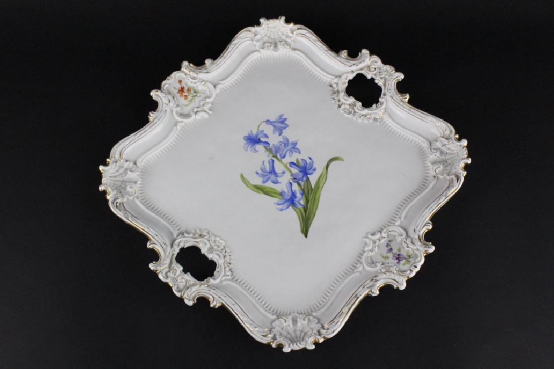 19th C..Meissen German Floral Porcelain Serving Tray - 8