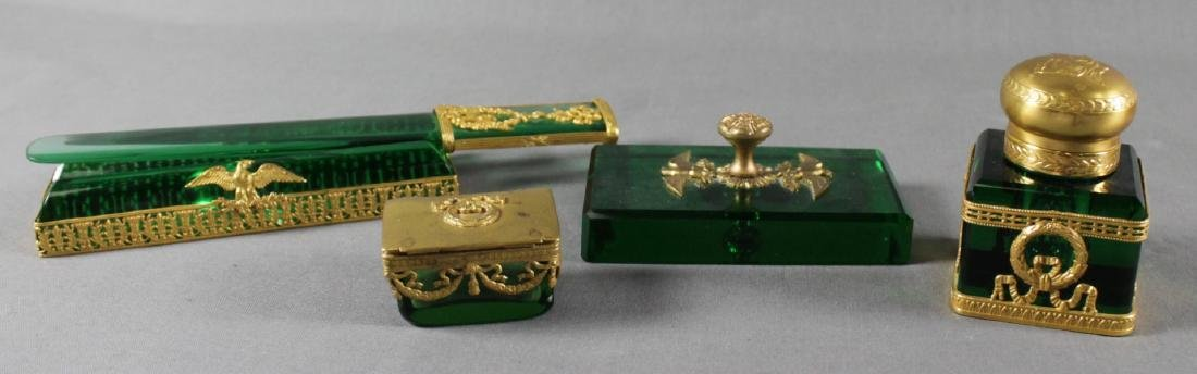 FRENCH GILT AND GREEN GLASS DRESSER SET - 2