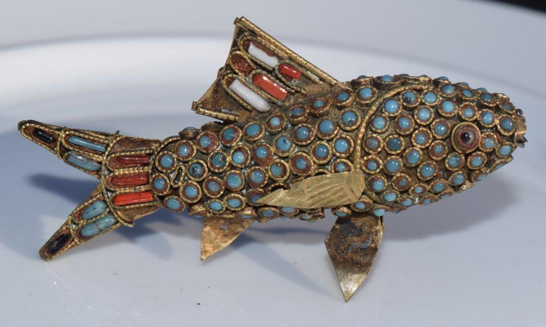 Antique Tibet Turquoise and Coral Fish