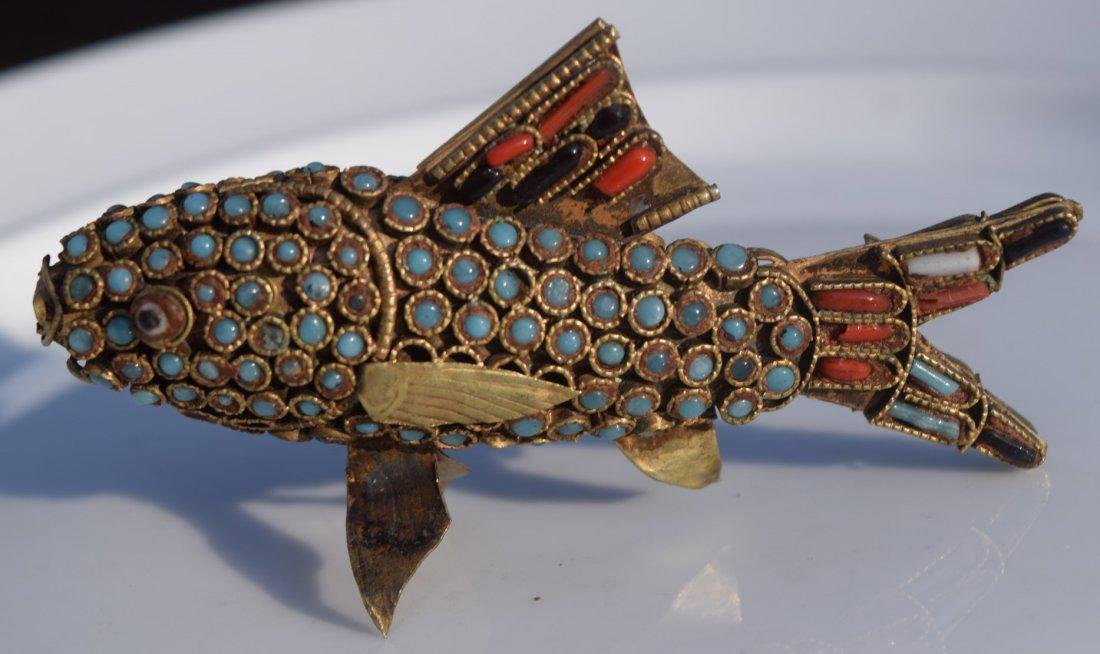 Antique Tibet Turquoise and Coral Fish - 2