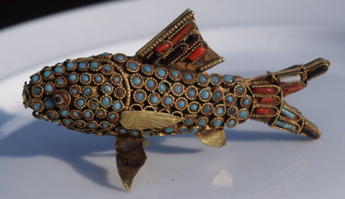 Antique Tibet Turquoise and Coral Fish - 3