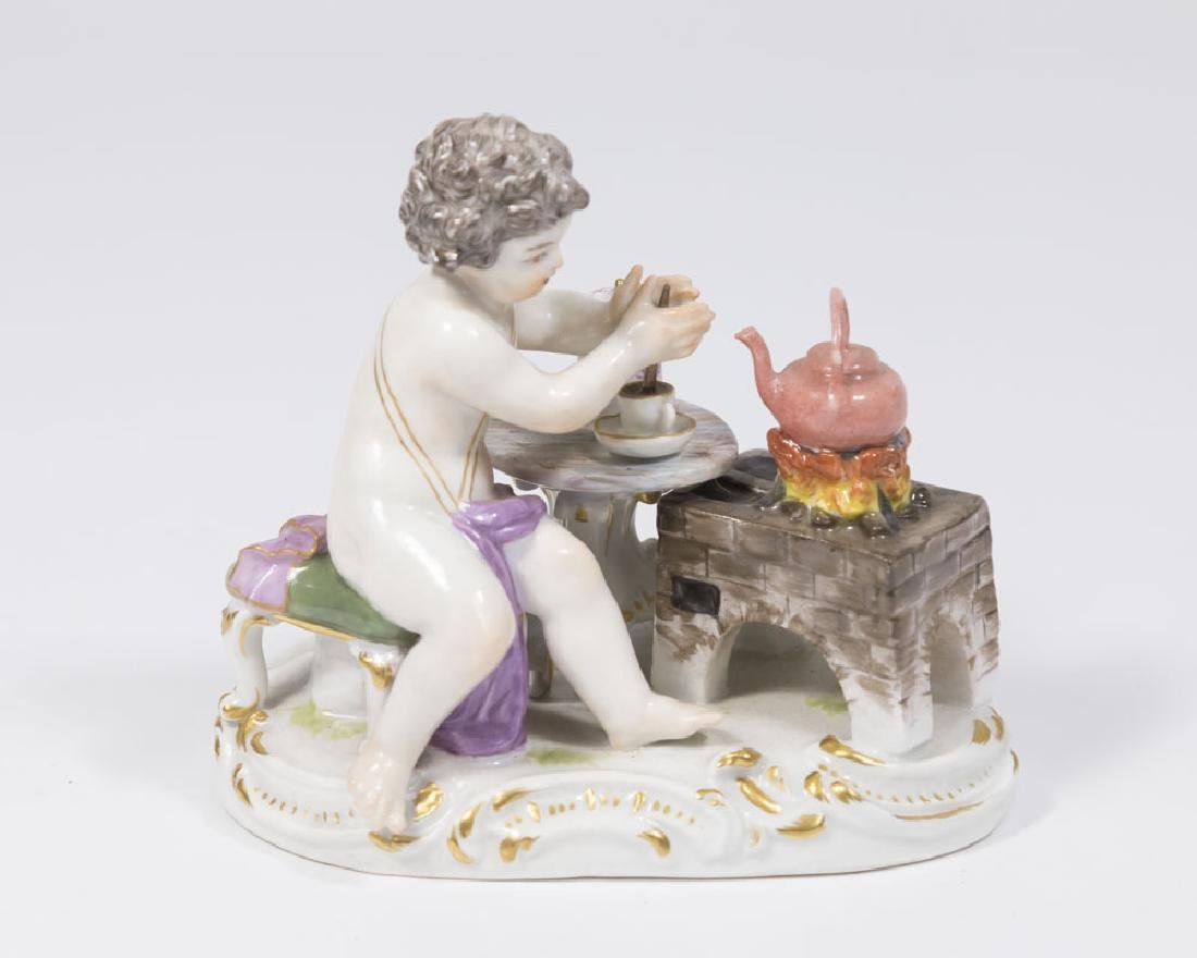 19th Century Meissen Figure of Putti with Teapot on