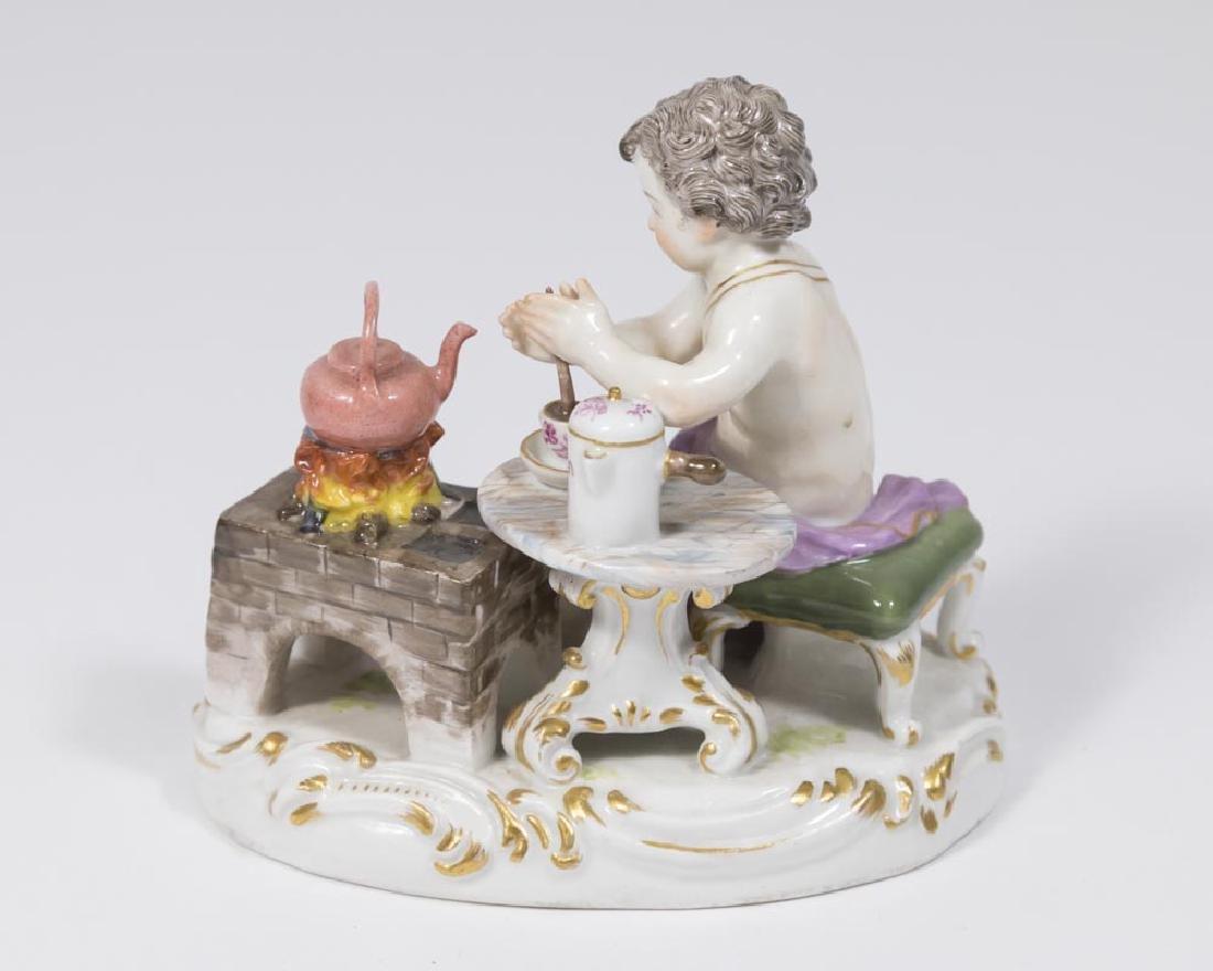 19th Century Meissen Figure of Putti with Teapot on - 2