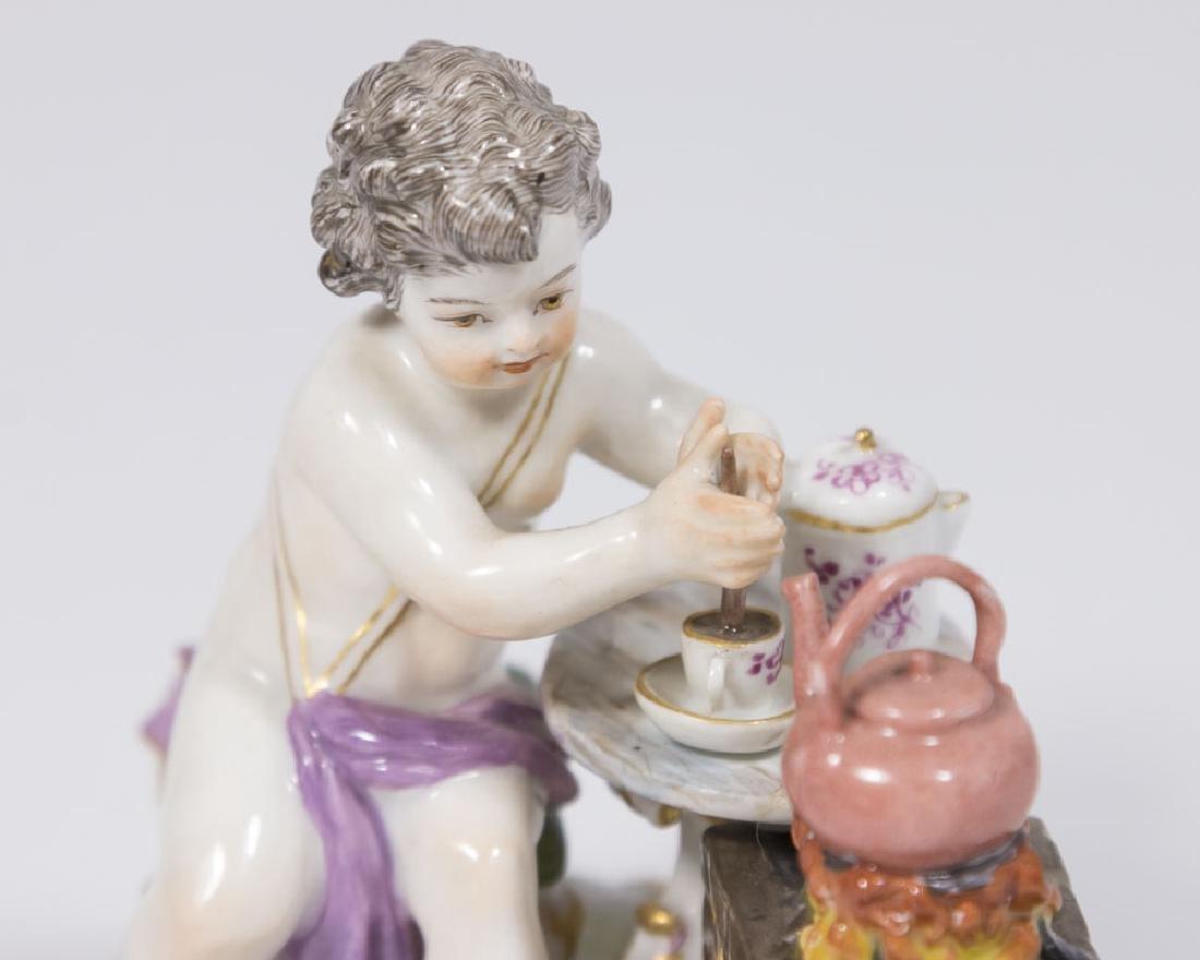 19th Century Meissen Figure of Putti with Teapot on - 3