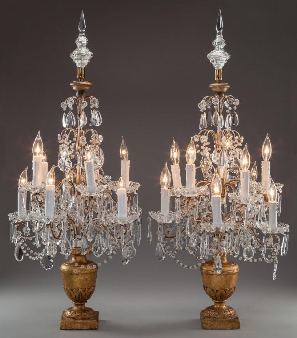 A Pair of French Baccart Cut-Glass and Giltwood