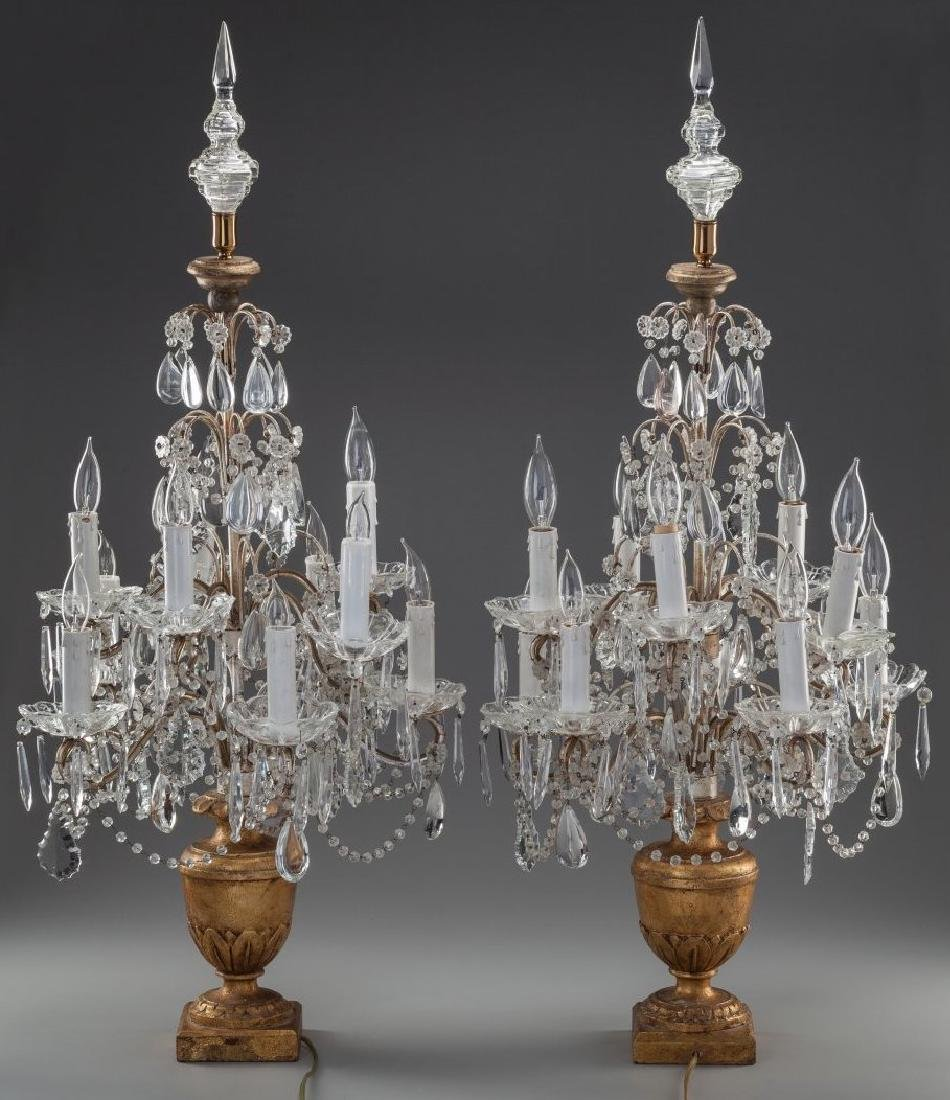 A Pair of French Baccart Cut-Glass and Giltwood - 2