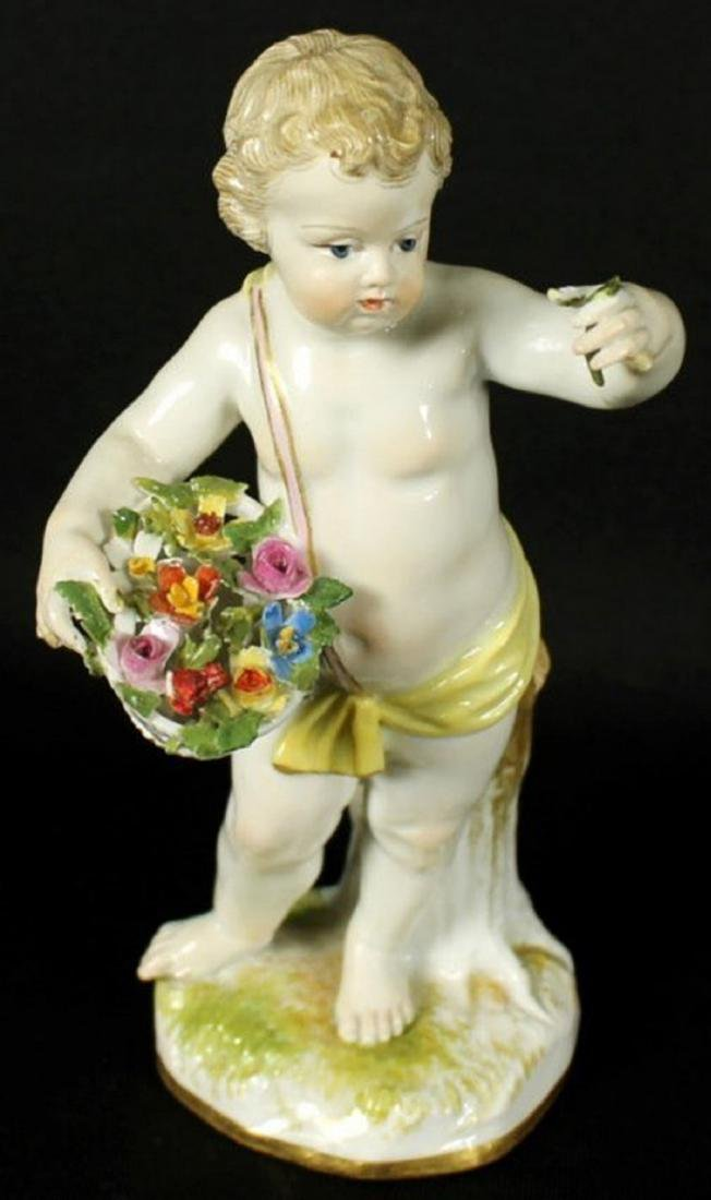 19th C. Meissen Figure of boy with Flowers - 5