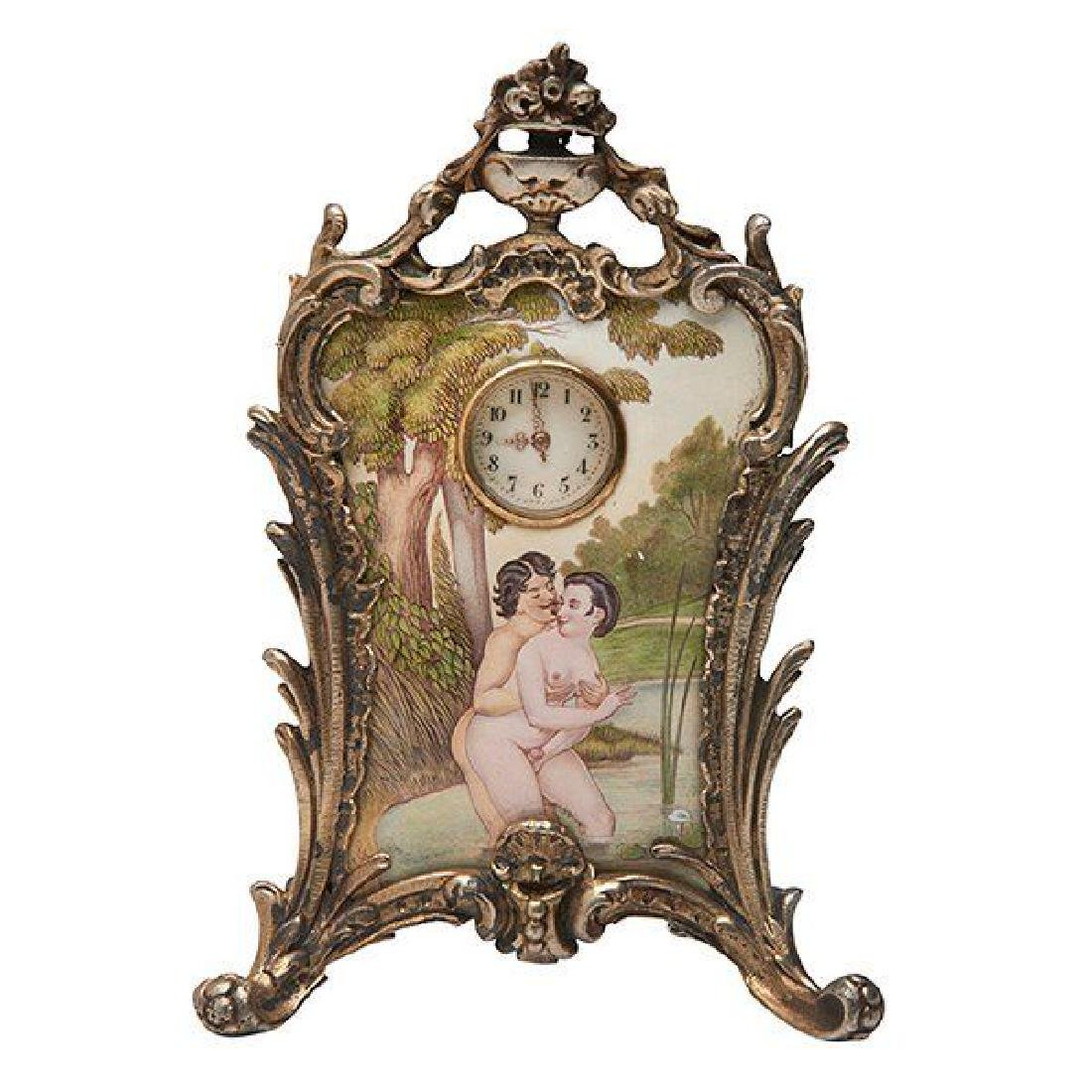Erotic Al Fresco Bathers Easel Clock