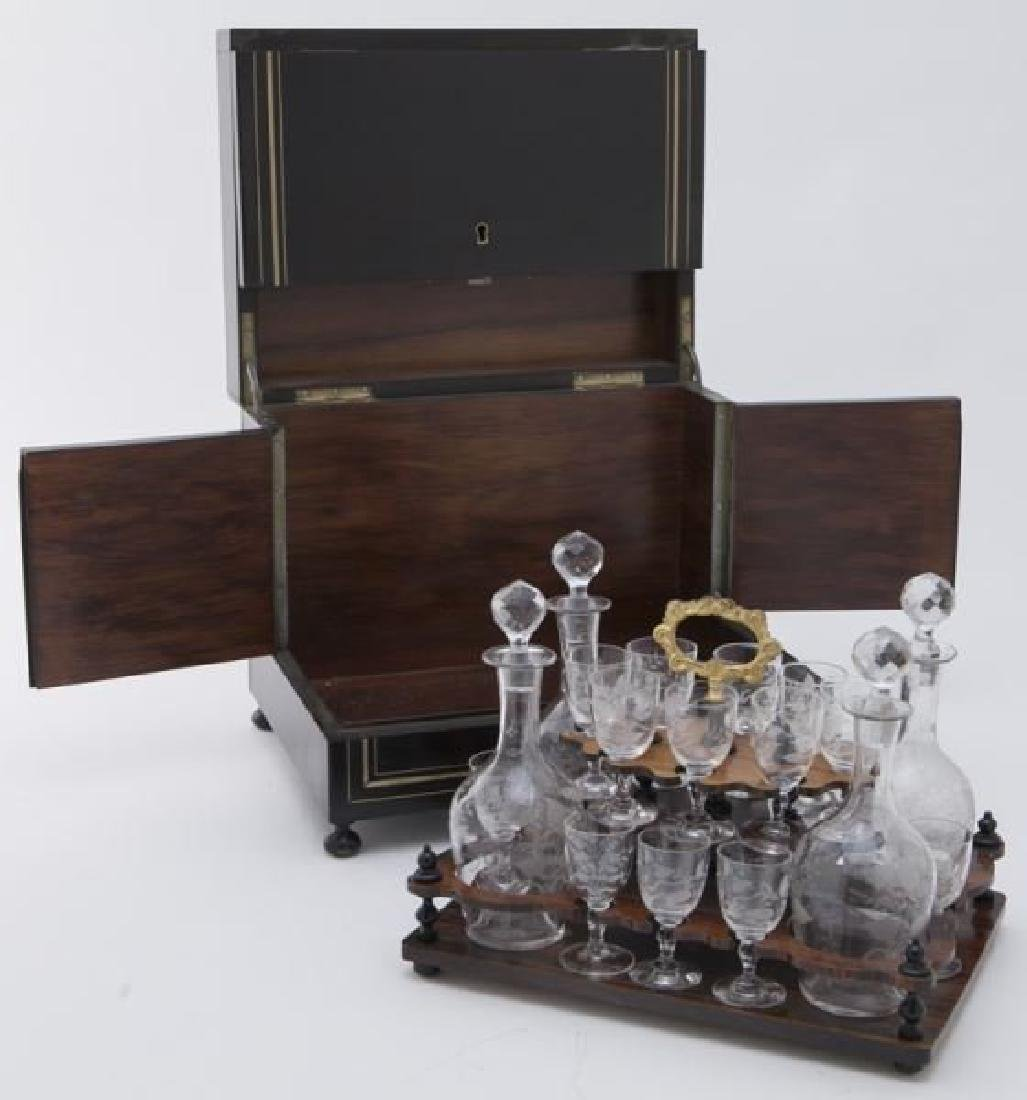 French Liquor set in Brass inlaid Ebonized Case, Circa - 2