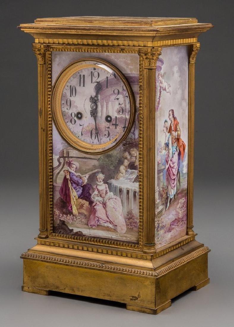 A Louis XVI-Style Gilt Bronze and Enameled Mantel Clock