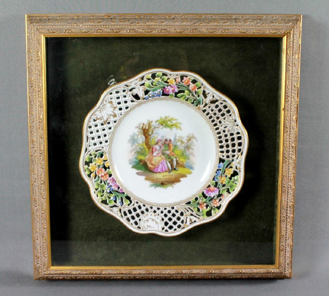 19TH CENTURY RETICULATED FRAMED DRESDEN PLATE