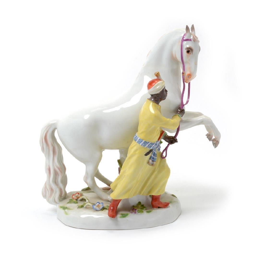 19TH C. MEISSEN FIGURE OF BLACKMOOR W/ HORSE - 3