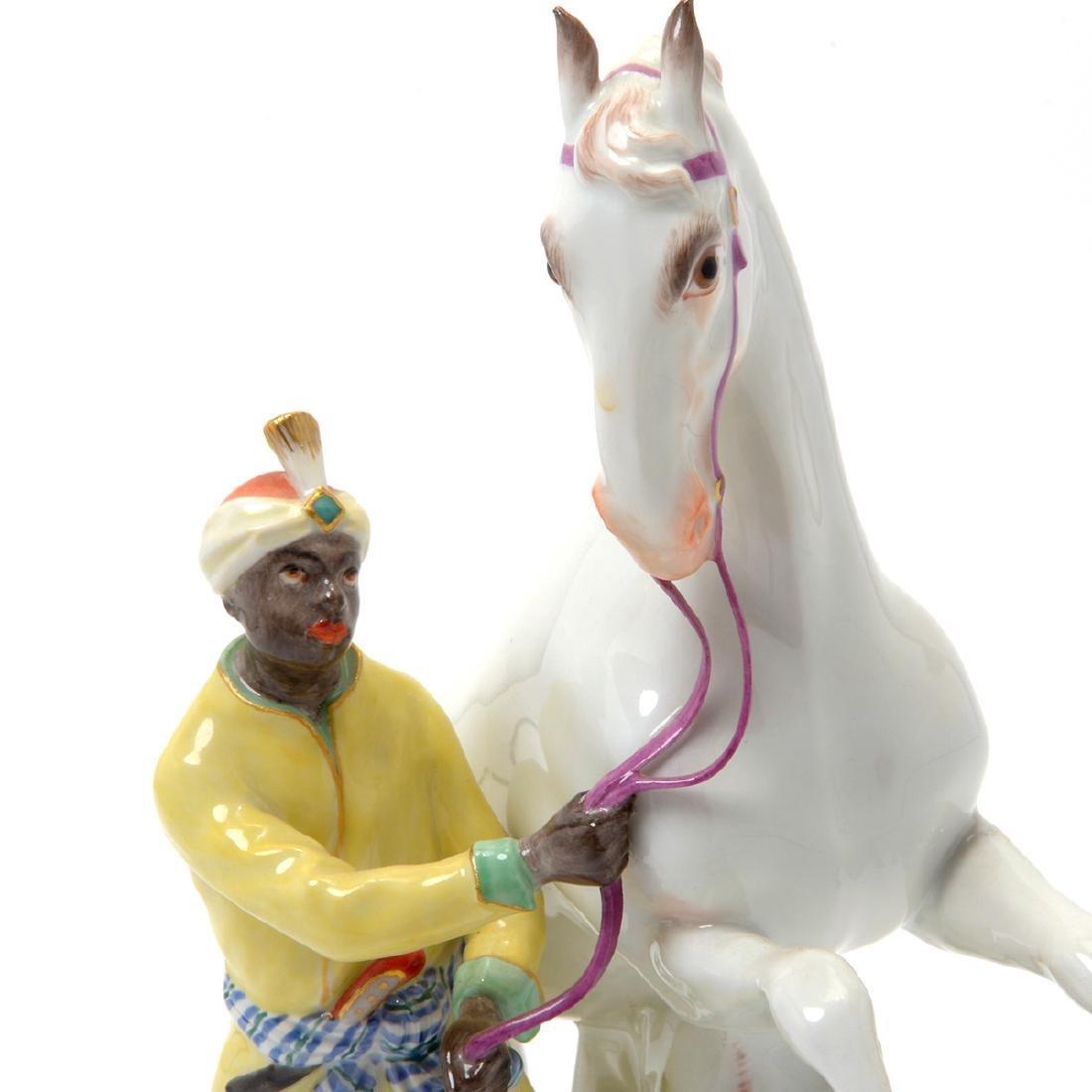 19TH C. MEISSEN FIGURE OF BLACKMOOR W/ HORSE - 4