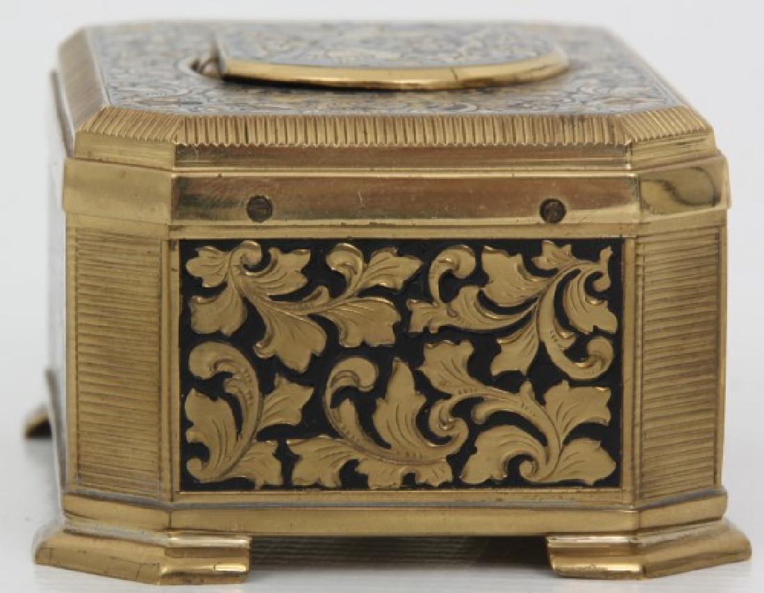 Gilt Brass & Enamel Animated Bird Box - 8