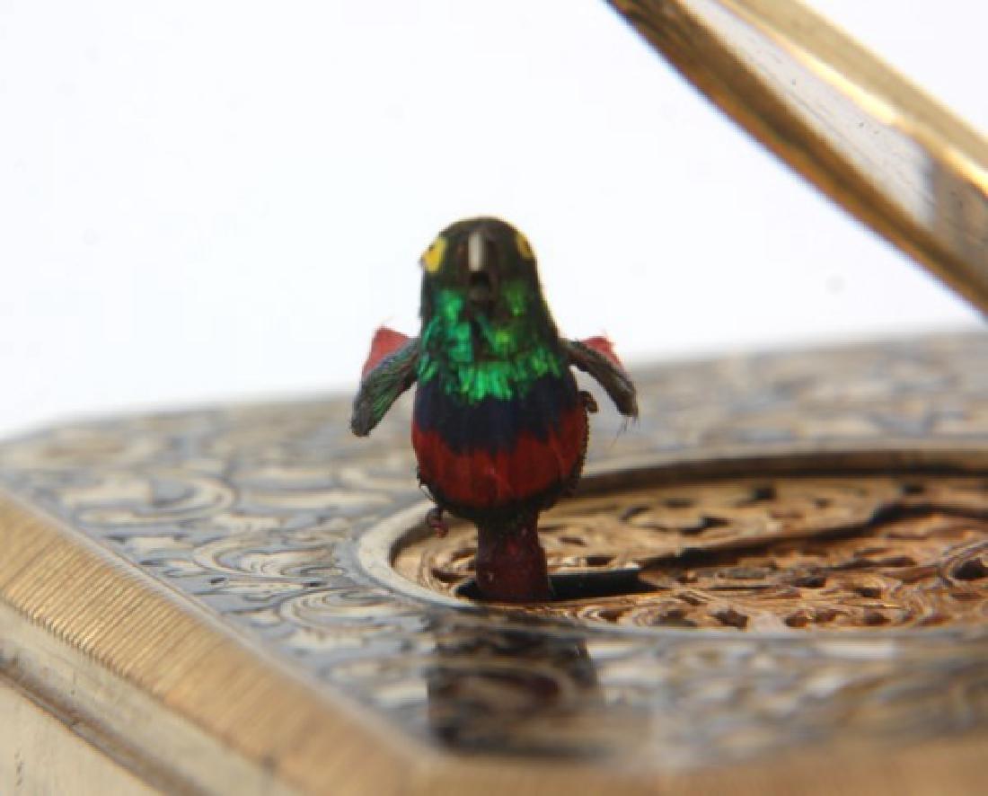 Gilt Brass & Enamel Animated Bird Box - 9