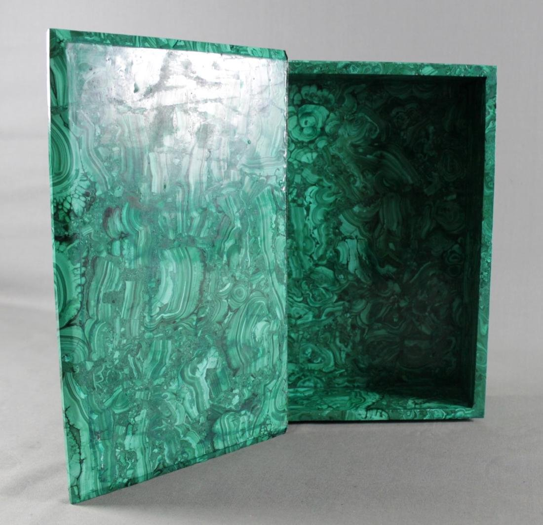 A RUSSIAN MALACHITE AND DORE BRONZE BOOK SHAPED BOX - 2