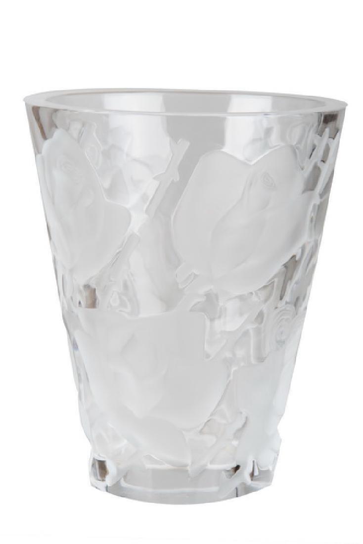 LALIQUE MOLDED GLASS VASE