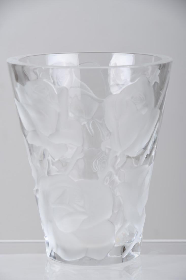 LALIQUE MOLDED GLASS VASE - 2