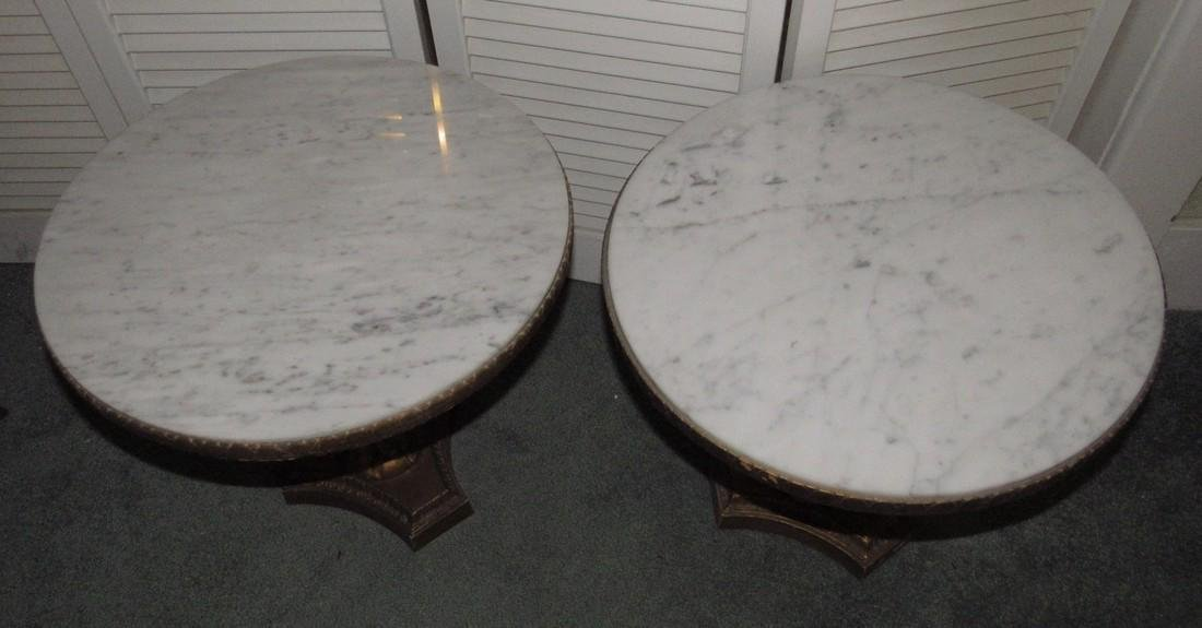 Pair of JB Vansciver Marble Top Tables w/ Cherubs - 2