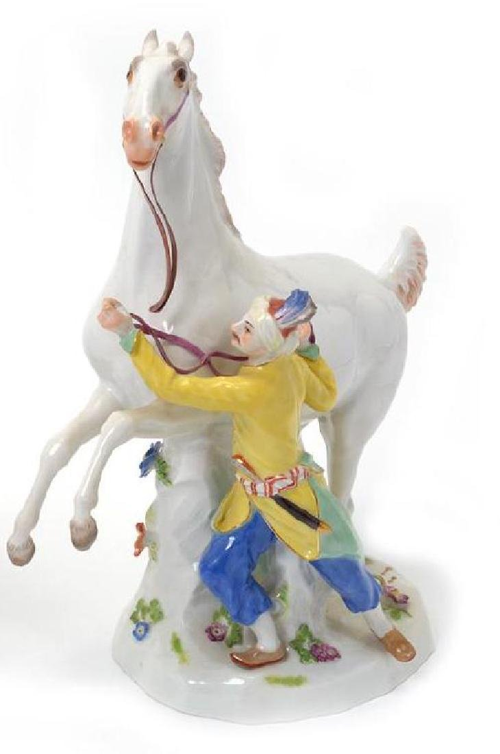 19TH C. MEISSEN FIGURE OF ATTENDANT W/ HORSE