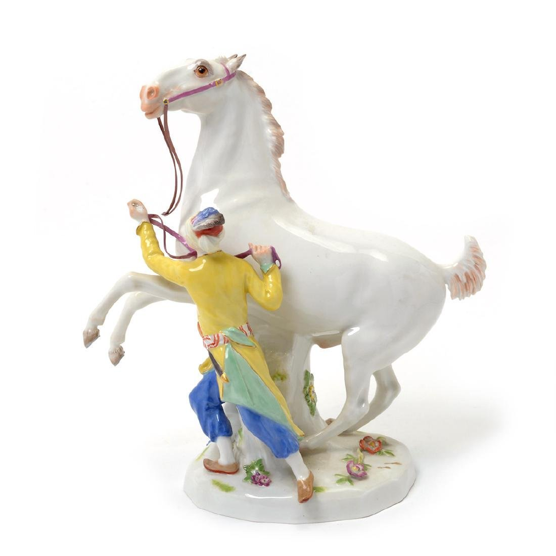 19TH C. MEISSEN FIGURE OF ATTENDANT W/ HORSE - 4