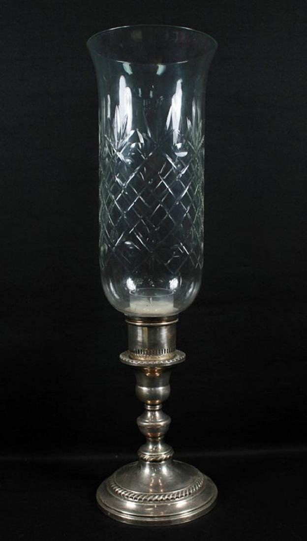 STERLING AND CUT GLASS HURRICANE CANDLE HOLDER