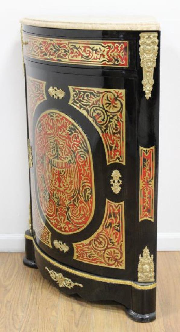 Pair of Boulle Style Marble Top Corner Cabinets - 3