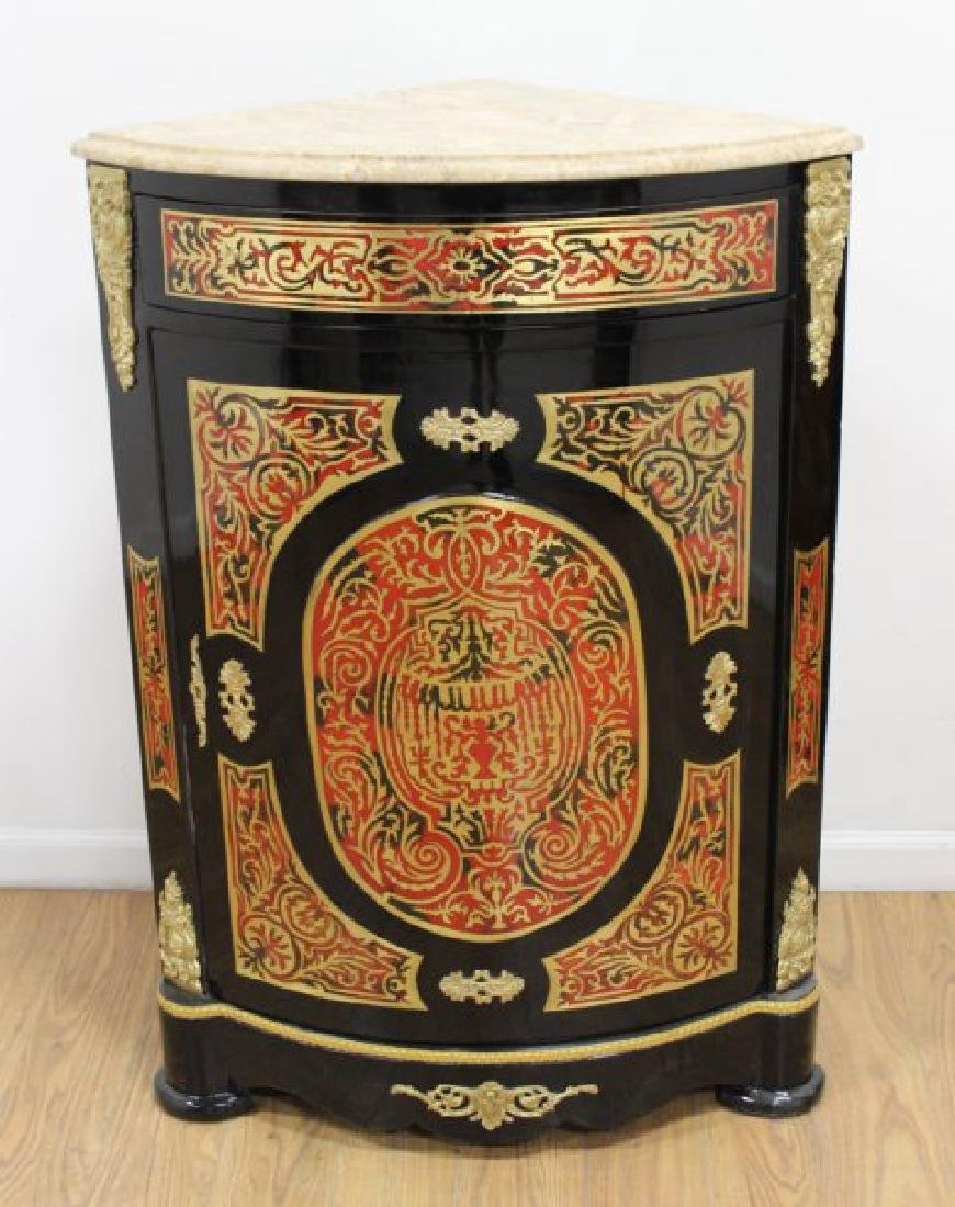 Pair of Boulle Style Marble Top Corner Cabinets - 4