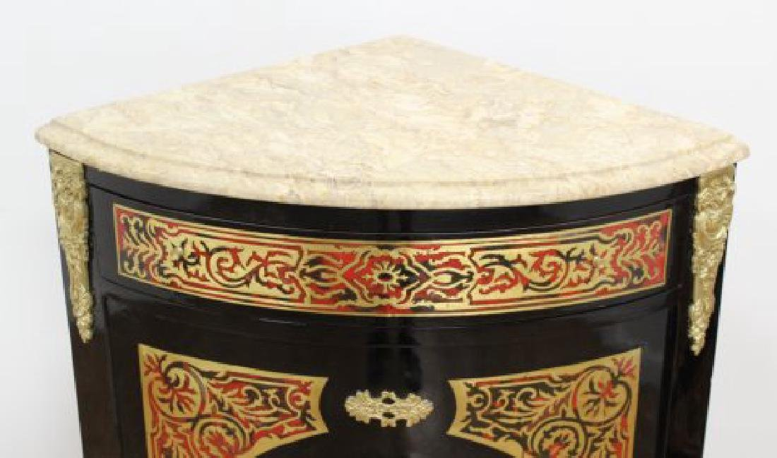 Pair of Boulle Style Marble Top Corner Cabinets - 5