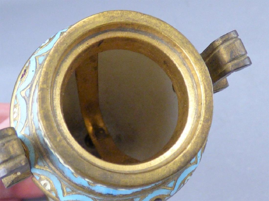 French Porcelain, Gilt-Bronze & Champleve Vase - 9