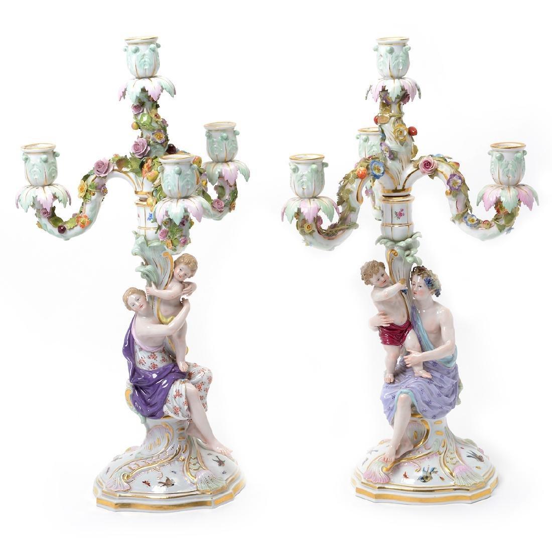 Pair of 19th C. Meissen Figural Three Light Candelabra