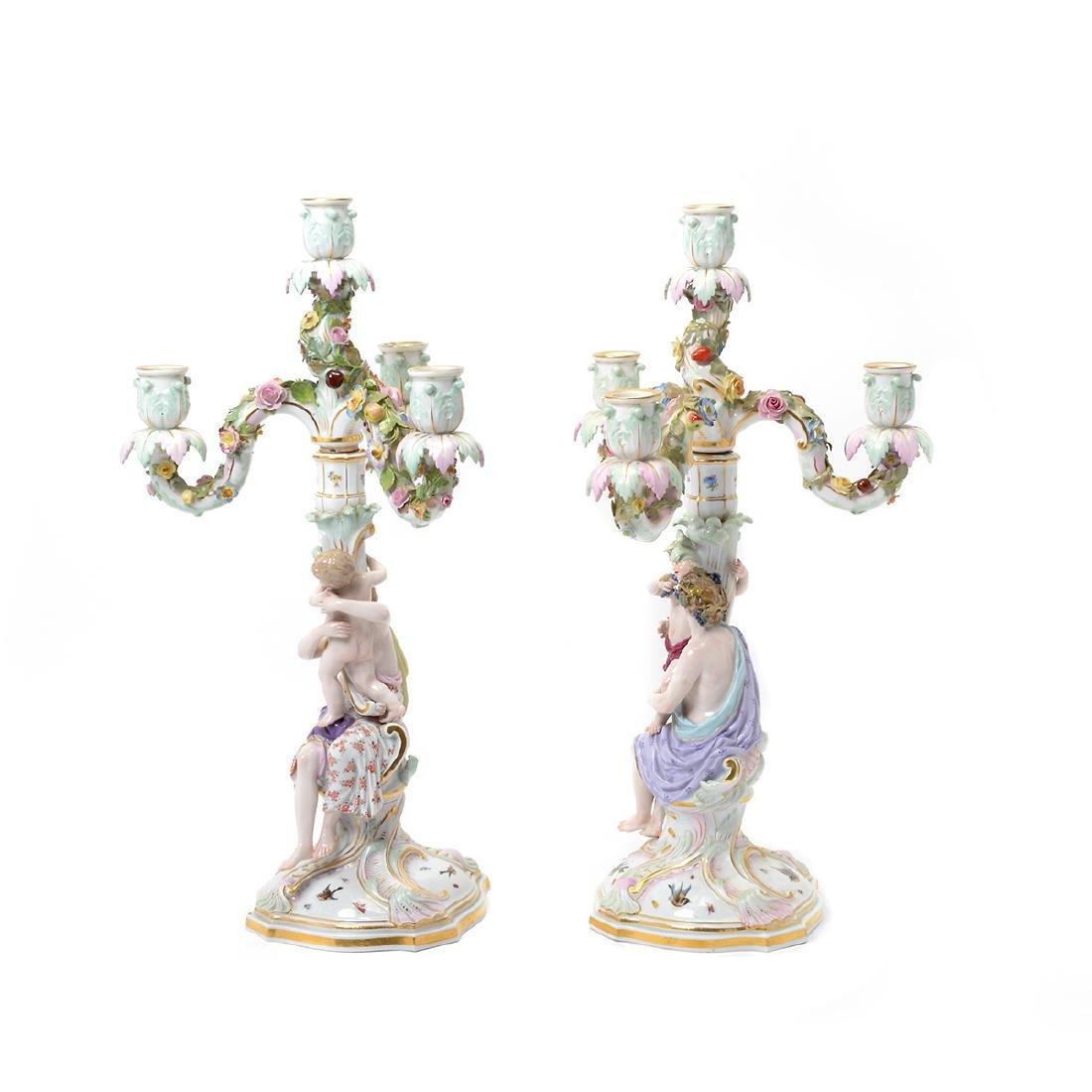 Pair of 19th C. Meissen Figural Three Light Candelabra - 2