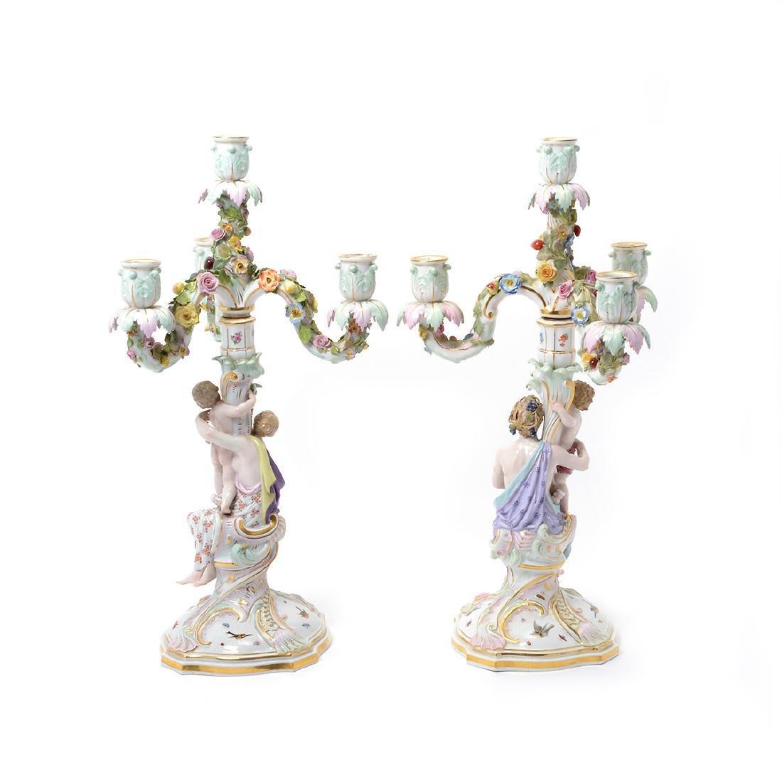 Pair of 19th C. Meissen Figural Three Light Candelabra - 3