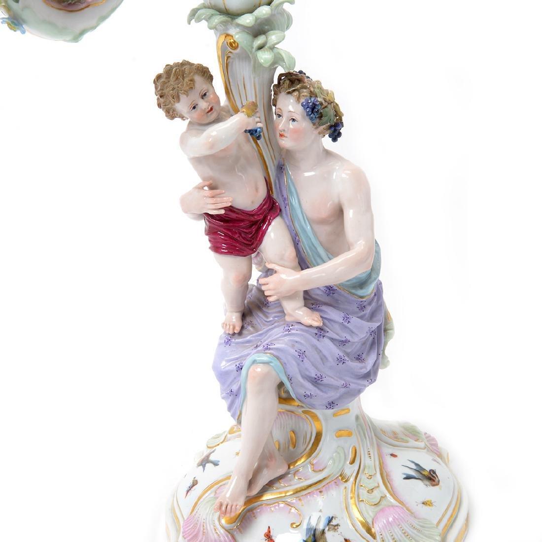 Pair of 19th C. Meissen Figural Three Light Candelabra - 8