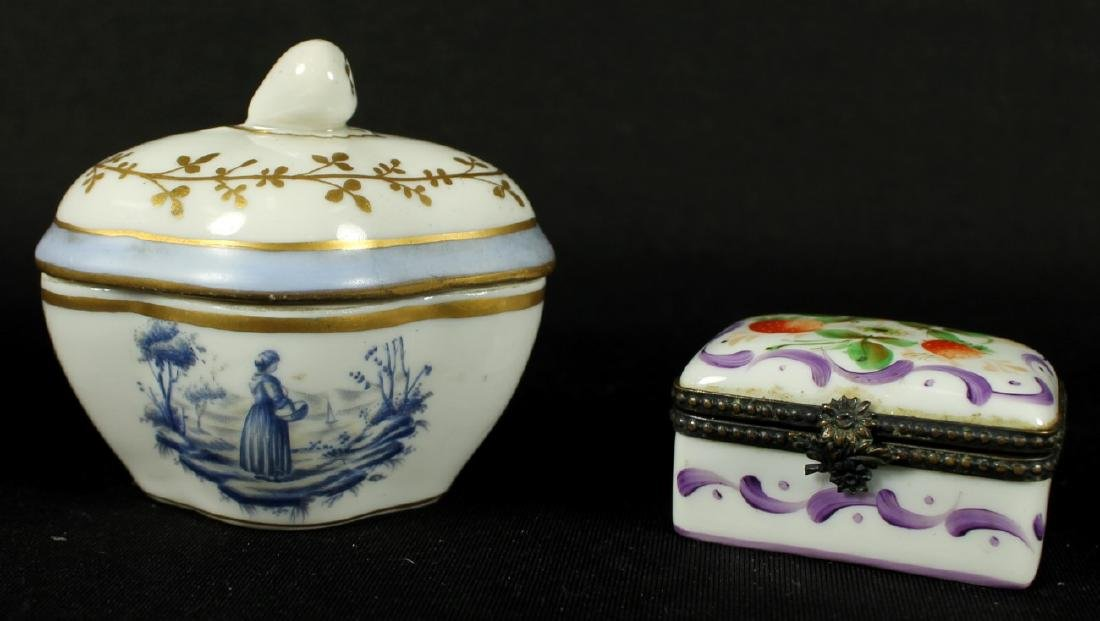 PAIR OF LIMOGES AND PORCELAIN BOXES