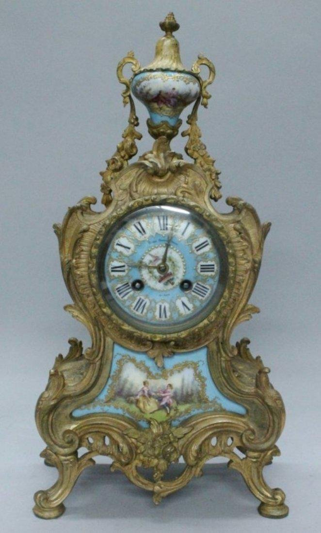 19TH C. PORCELAIN AND BRONZE AND CLOCK AND TWO HANDLED - 2