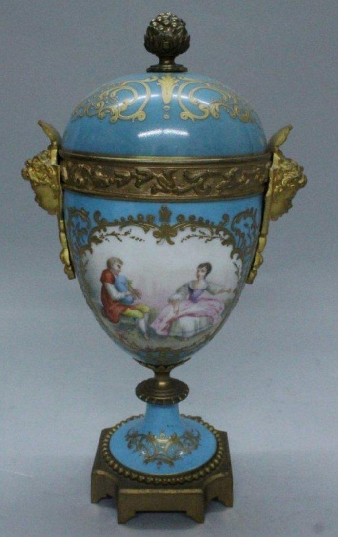19TH C. PORCELAIN AND BRONZE AND CLOCK AND TWO HANDLED - 4