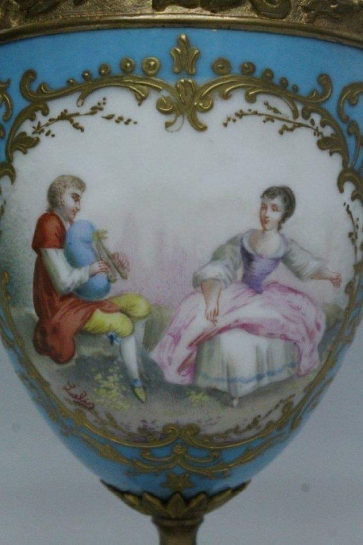 19TH C. PORCELAIN AND BRONZE AND CLOCK AND TWO HANDLED - 5