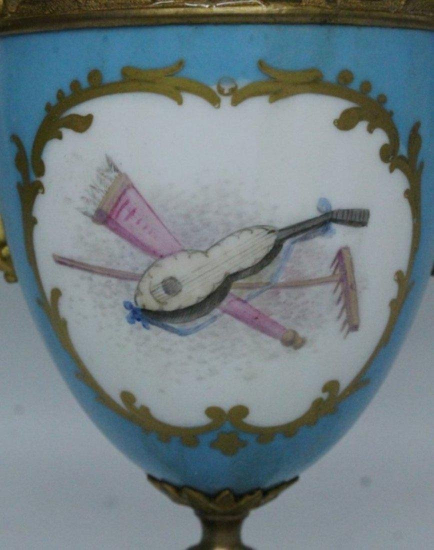 19TH C. PORCELAIN AND BRONZE AND CLOCK AND TWO HANDLED - 6