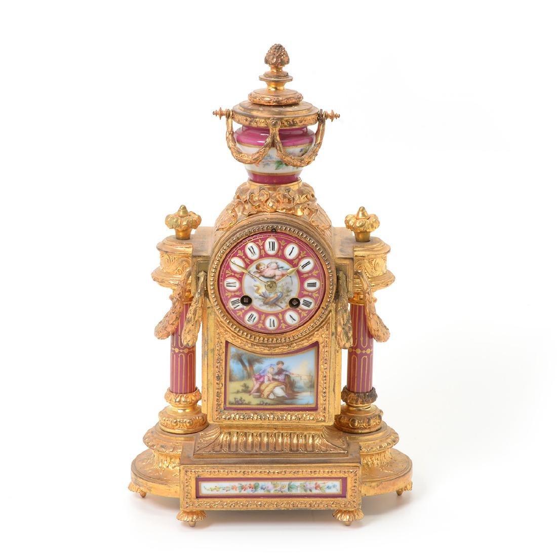 Louis XVI Style Gilt Bronze Porcelain Mantel Clock