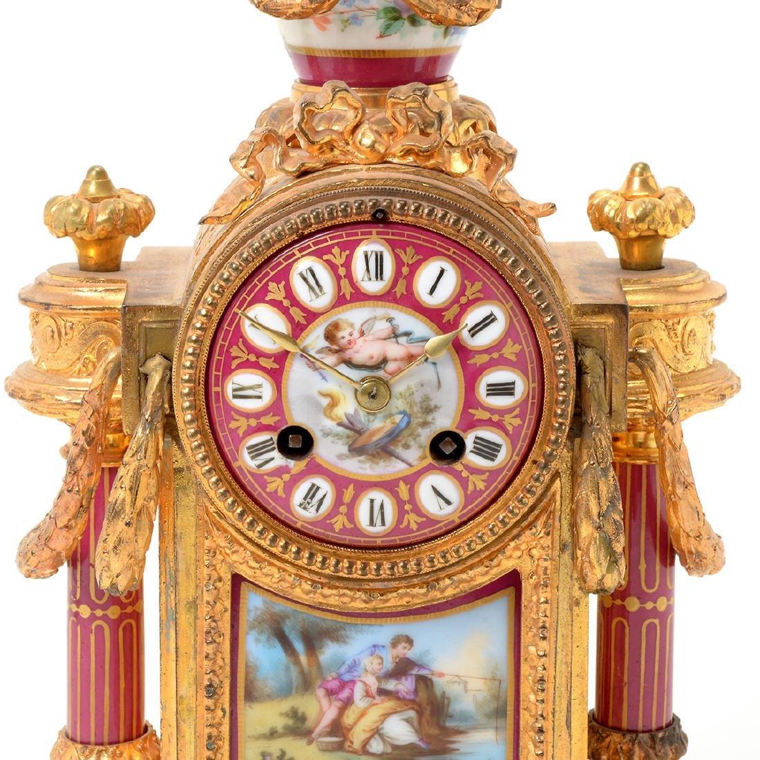 Louis XVI Style Gilt Bronze Porcelain Mantel Clock - 2