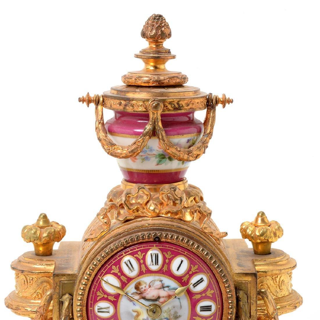 Louis XVI Style Gilt Bronze Porcelain Mantel Clock - 3