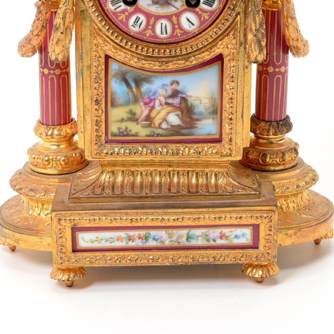 Louis XVI Style Gilt Bronze Porcelain Mantel Clock - 4