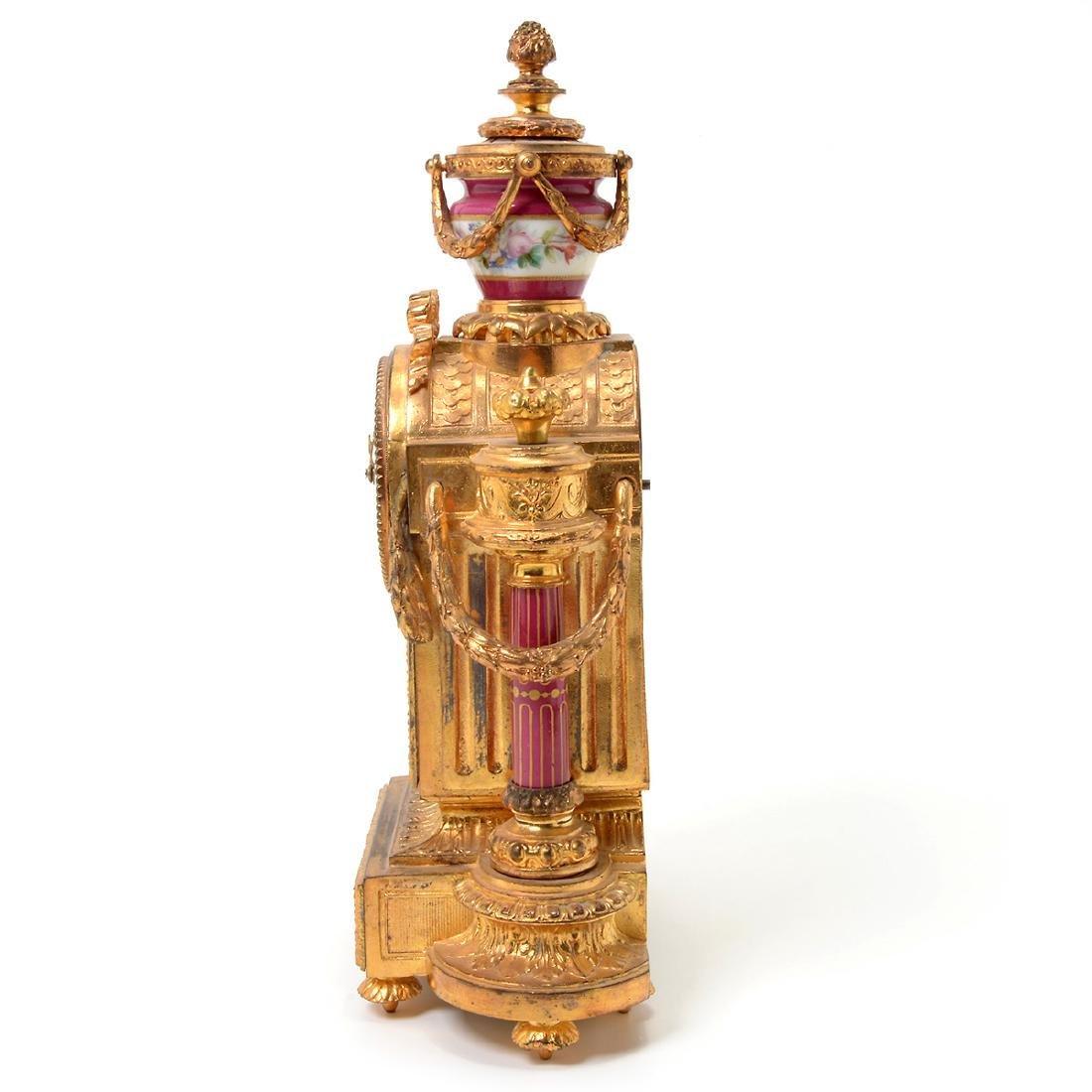 Louis XVI Style Gilt Bronze Porcelain Mantel Clock - 8