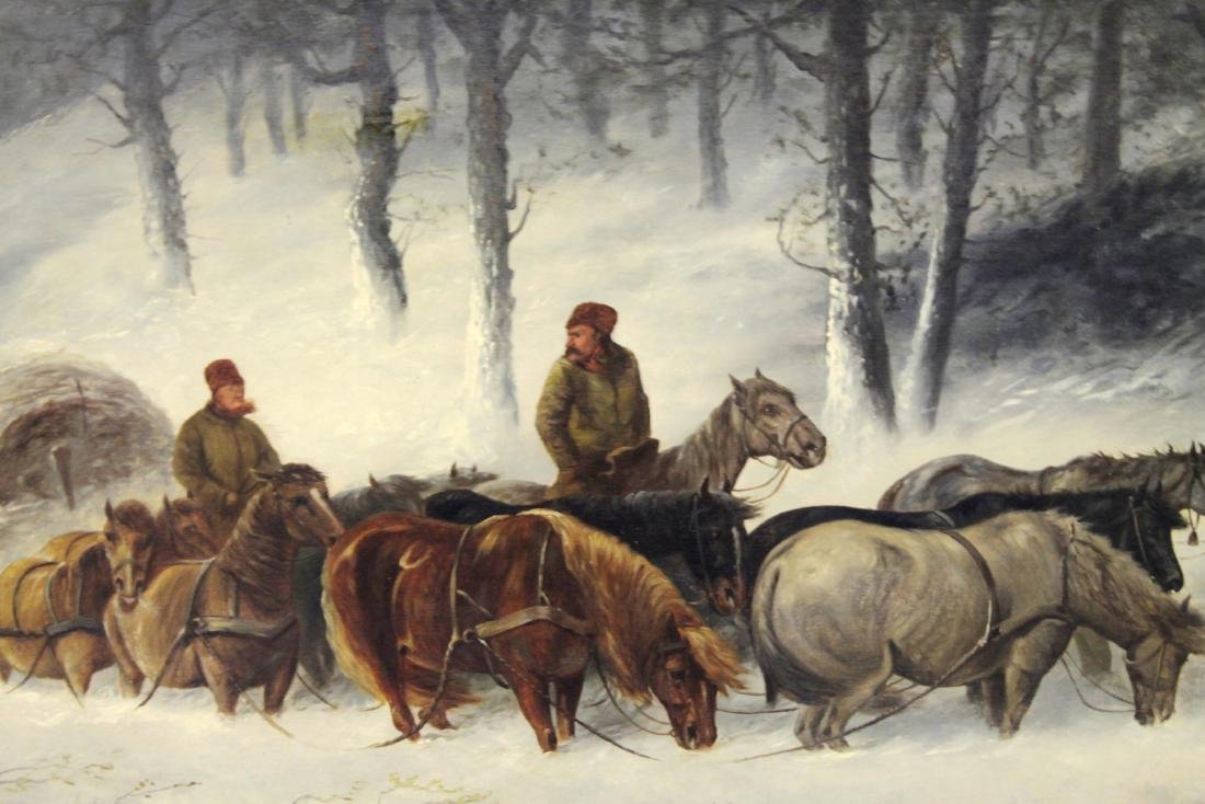 PAUL POWIS: OIL ON CANVAS WINTER LANDSCAPE WITH HORSES - 2