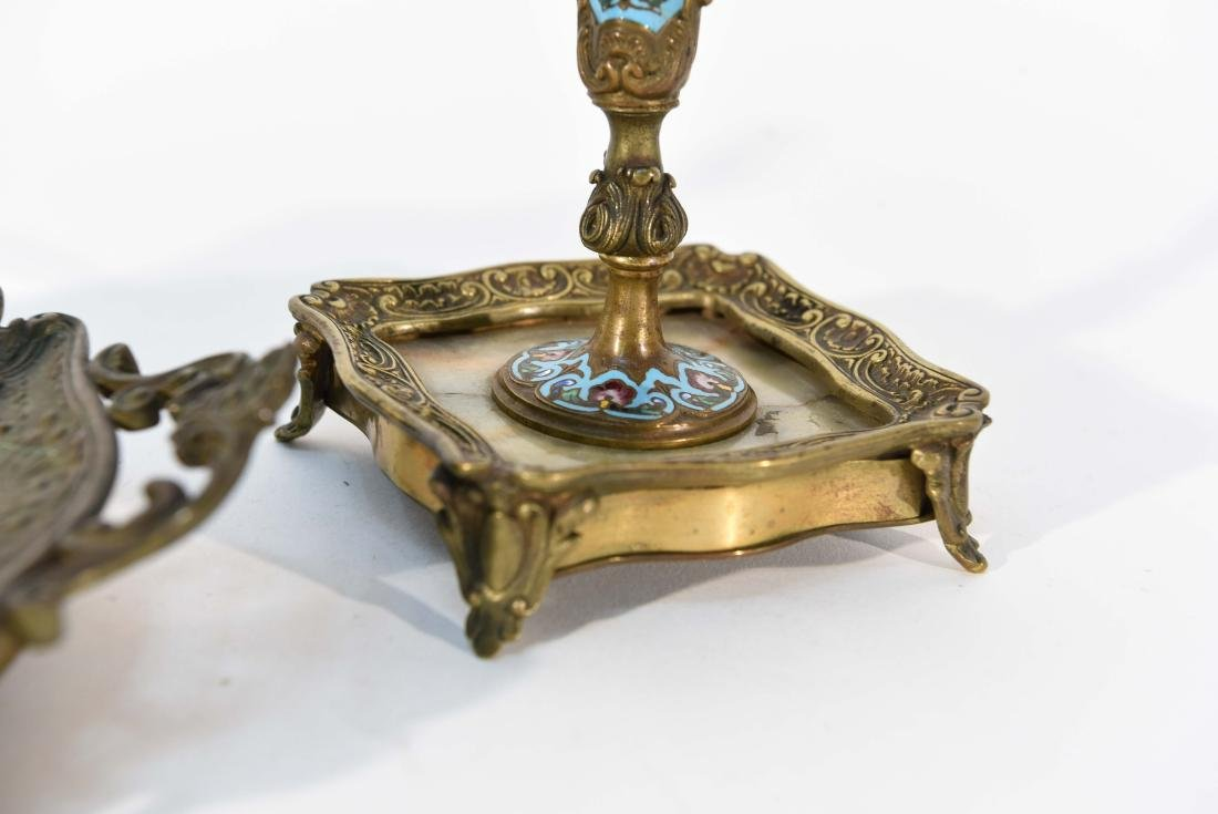 FRENCH CHAMPLEVE CANDLE STICKS AND INKWELL /TRAY DESK - 6