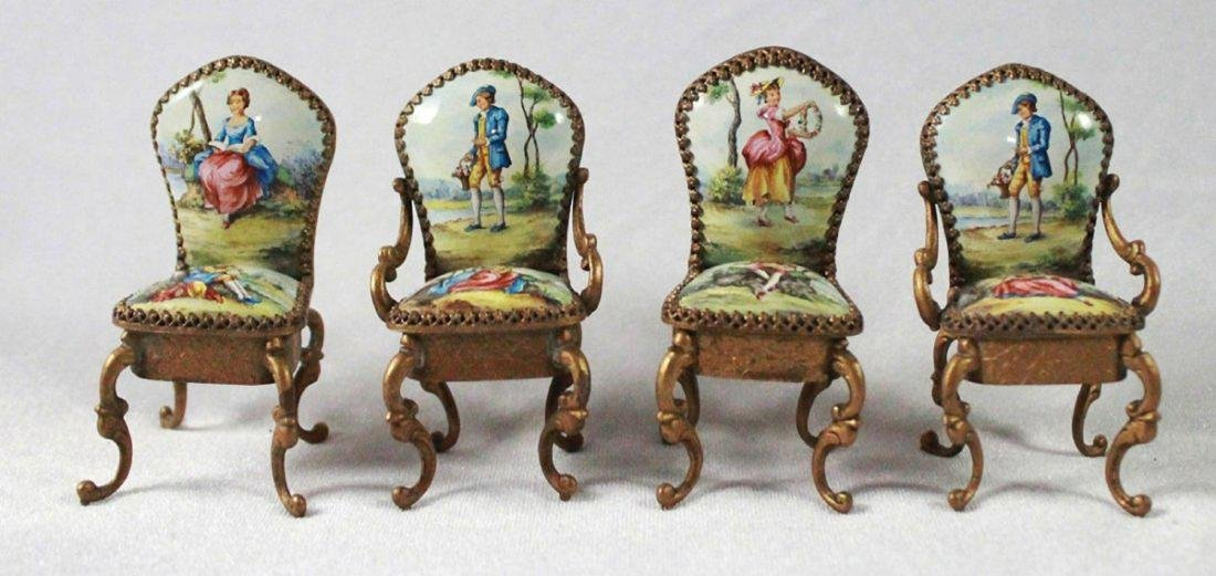 VIENNESE ENAMEL MINIATURE FURNITURE SET - 4